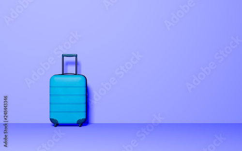 Poster Asia Country Suitcase on pastel background. Travel baggage concept. Minimal style. Copy space. 3D rendering illustration