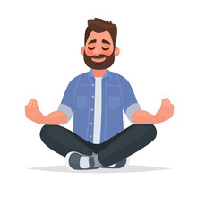 Meditating Man Over Isolated Background. Keep Calm. Vector Illustration