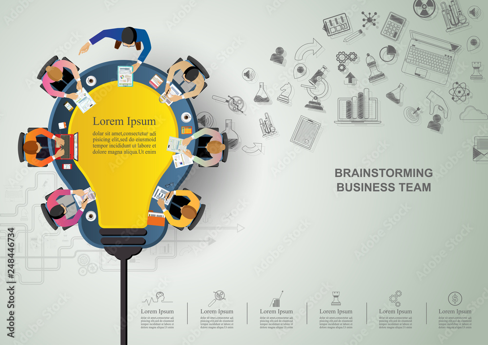 Fototapeta Business meeting and brainstorming. Idea and business concept for teamwork. Vector illustration infographic template with people, team, light bulb and icon.Print