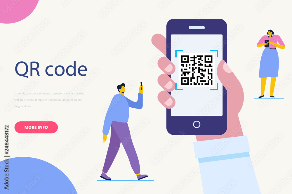 Fototapeta Hand with pnone. QR code concept illustration of man scanning barcode using mobile smartphone for online shopping and payment.  Flat vector illustration.