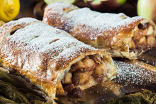 Traditional Puff Pastry Strudel With Apple
