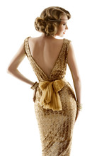 Retro Fashion Model Gold Dress, Woman Old Fashioned Beauty, Back View Over White Background