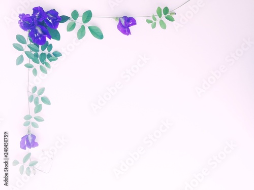 Photo Stands Floral woman blue flowers on white background