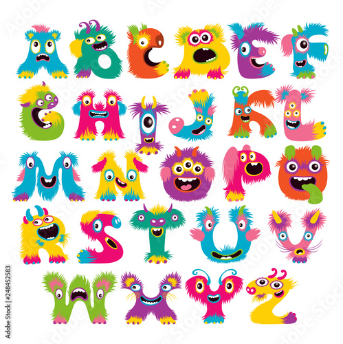 Cartoon children cute and funny monster alphabet