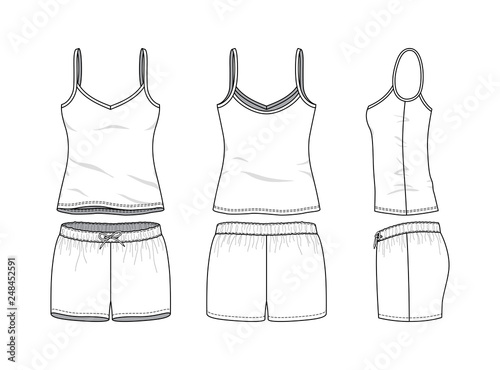 Fototapeta Blank clothing templates of women camisole and sports short set in front, side, back views