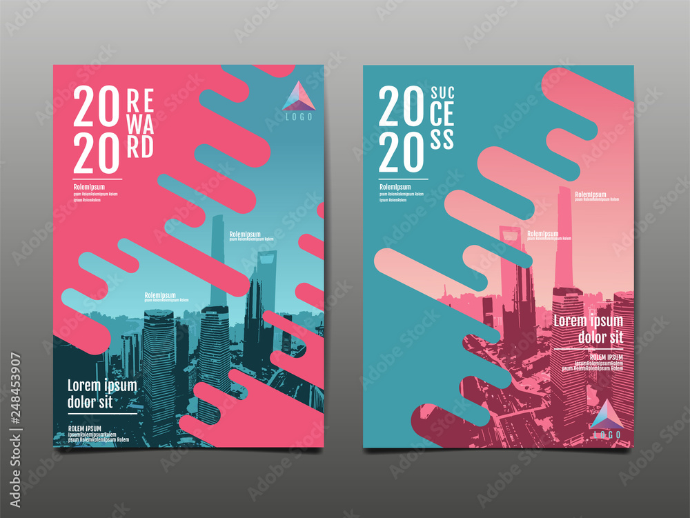 Fototapeta annual report 2020 ,future, business, template layout design, cover book. vector illustration,presentation abstract flat background.