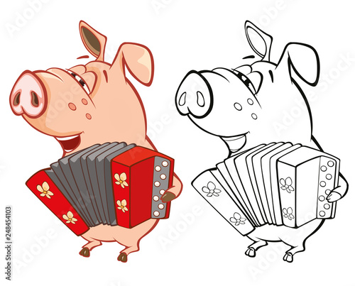 Foto auf AluDibond Babyzimmer Vector Illustration of a Cute Pig Musician. Coloring Book Cartoon