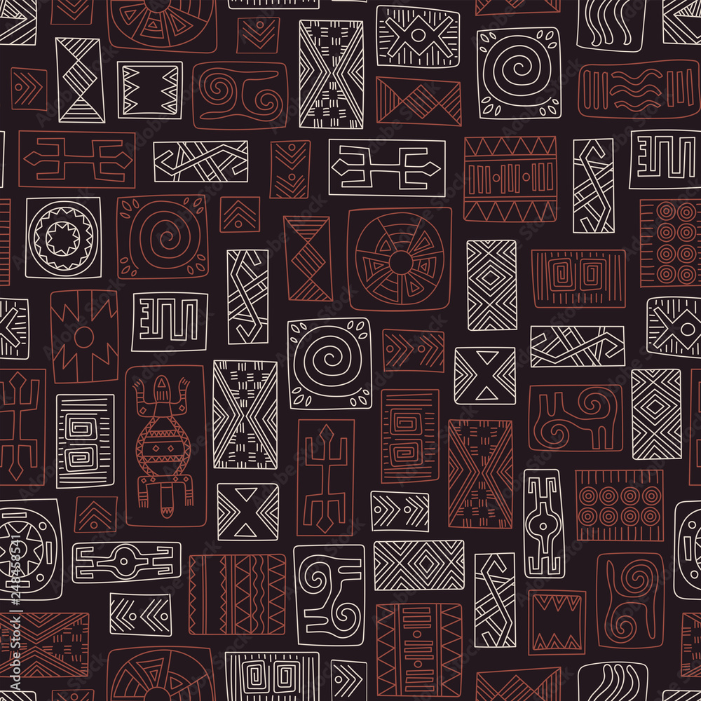 Vector seamless pattern in ethnic style. African tribal ornaments.