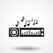 Car radio. Single flat icon on white background. Vector illustration.