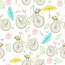 Hand-drawn Seamless Pattern With The Image Of A Bicycle, A Basket For Flowers, A Street Lamp And A Raindrop. Textile Summer Pattern Fow Girls. Cothes Print. Wallpaper Design Watercolor. Bicycle Travel