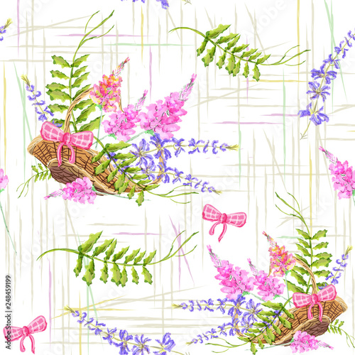 Fotografering Hand-drawn seamless pattern with the image of a basket with lavender and wildflowers
