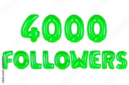 Valokuva  four thousand followers, green color
