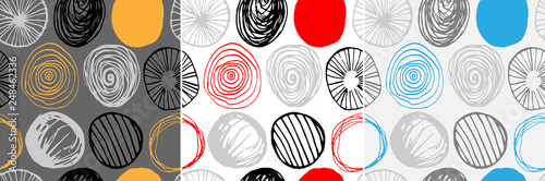 Beautiful vector set of three seamless patterns in simple scandinavian style. Abstract hand drawn round shapes. Repeating wallpapers. Trendy background design.