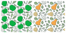 Seamless Pattern Set. Juicy Fruit. Apple And Pear. Hand Drawn Color Vector Sketch Background. Colorful Doodle Wallpaper. Summer Print