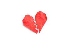 Red Crumpled Heart Shape Paper Isolated On White Background