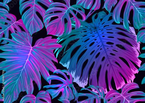 fototapeta na lodówkę Tropic leaves seamless pattern in neon colors