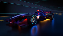 Race Car Speeding Along A Futu...