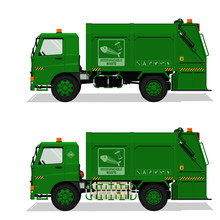 Isolated Biodegradable Garbage Truck On Transparent Background