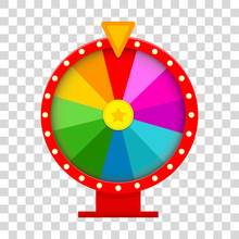Colorful Fortune Wheel In Flat...