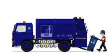 Isolated General Garbage Truck And The Keeper On Transparent Background