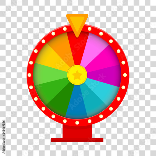 Fotografía  Colorful fortune wheel in flat style on transparent background