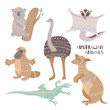 Stylized australian animals isolated on white background. Tribal flat australian animals collection. Fauna symbols of australian continent.
