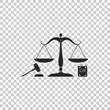 Scales of justice, gavel and book icon isolated on transparent background. Symbol of law and justice. Concept law. Legal law and auction symbol. Flat design. Vector Illustration