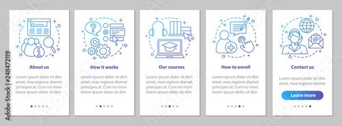 Online courses onboarding mobile app page screen with linear con