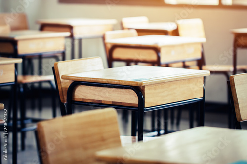 Cuadros en Lienzo  Empty School classroom with desks chair wood, greenboard and whiteboard in high