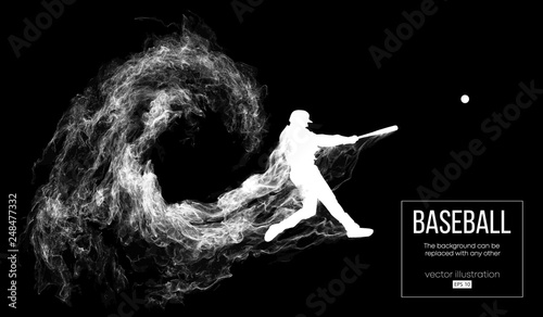 Fotografía Abstract silhouette of a baseball player batter on dart black background from particles, dust, smoke
