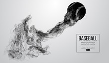 Abstract Silhouette Of A Baseball Ball On White Background From Particles, Dust, Smoke. Baseball Ball Flies . Background Can Be Changed To Any Other. Vector Illustration