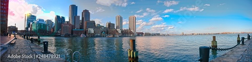 Photo Panorama of downtown Boston from seaport