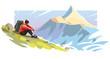 Leinwandbild Motiv Young man is sitting on a slope mountain. Illustration on the tourism topic