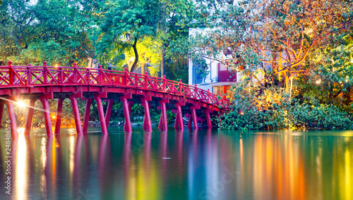 iconic red bridge in Hanoi, Vietnam Canvas Print
