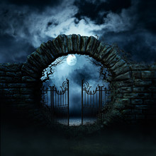 Scary Gate. Horror Night. Moon...