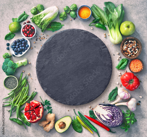 Fototapeta Healthy food selection with fruits, vegetables, seeds, super foods, cereals obraz