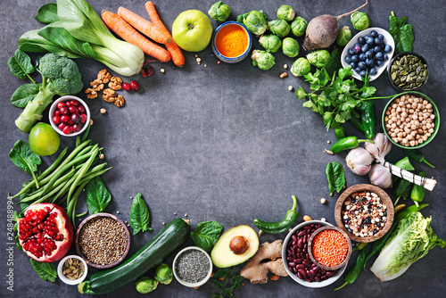 Poster Cuisine Healthy food selection with fruits, vegetables, seeds, super foods, cereals