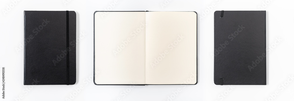 Fototapeta black notebook on white background with clipping path