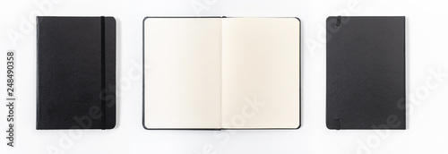 Photo  black notebook on white background with clipping path