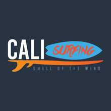 Calisurfing Brand Name, Logo,  T-shirt Graphics, Print, Poster, Banner, Flyer, Postcard. Smell Of The Wind.