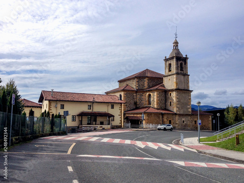 Photo  Chircj in the street of typical nortern Spain town Markina, Basque Country, Northern St
