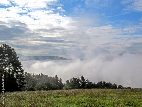 Beautiful mountain landscape covered with clouds on Camino del Norte route, Nort Canvas Print