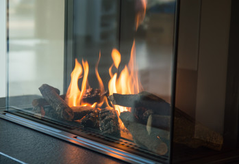 a fire burns in a glass fireplace, radiates heat