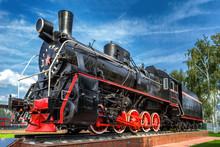 Voronej,Russia,August 10,2017:Old Steam Locomotive At The Railway Station
