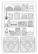 cupboard with tableware and sweet food for your coloring page
