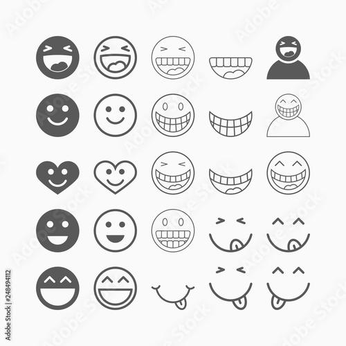 Fotografia smile icon set, laugh vector