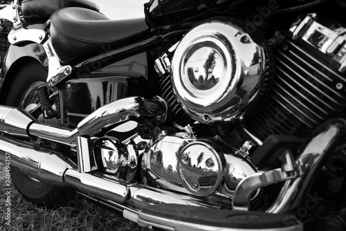 Valokuva  Piękne motocykle, detal chrom