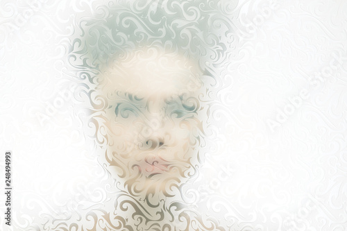 A young woman looking through a translucent glass with a drawing Canvas-taulu