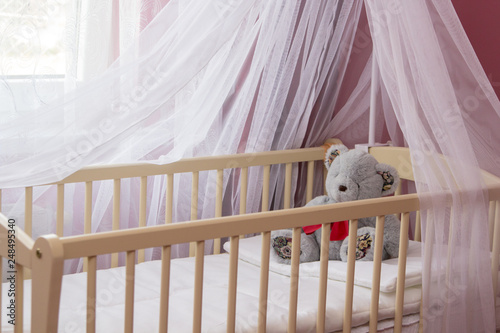 Photo baby bed with canopy,bedroom for the baby, cradle with a canopy