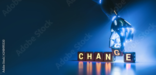 cyborg robot hand changes text cube from change to chance - ai concept - 3d rend Tableau sur Toile
